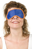Girl on mask for sleep closeup Royalty Free Stock Images