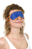 Girl on mask for sleep on white Stock Photo