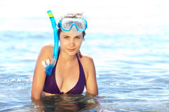 Girl with mask and snorkel Stock Image