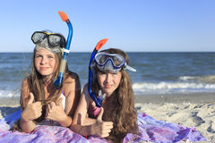 Girl with mask and snorkel for scuba diving. Royalty Free Stock Image