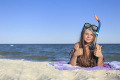 Girl with mask and snorkel for scuba diving. Stock Image