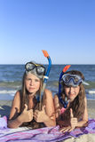 Girl with mask and snorkel for scuba diving. Stock Photo