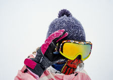 Girl in a mask for snowboarding.  Stock Images