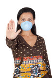 Girl with mask stopping influenza A Stock Photo