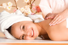 Girl massage portrait Stock Photo