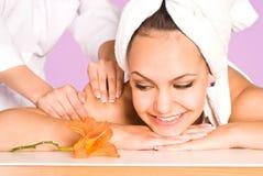 Girl massage portrait Royalty Free Stock Photos