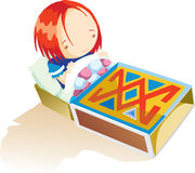 A girl in the matchbox Royalty Free Stock Image