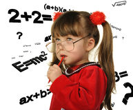 The girl and mathematical formulas Royalty Free Stock Photography