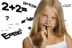 The girl and mathematical formulas Royalty Free Stock Image