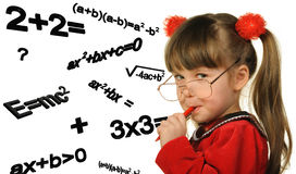 The girl and mathematical formulas Stock Photo