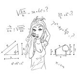 Girl and mathematics. Girl doing a math test. But she does not understand it Stock Images