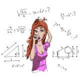 Girl and mathematics Stock Photo
