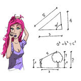 Girl and mathematics Stock Image
