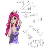 Girl and mathematics. Girl with a purple shirt and pink hair doing a math test. But she does not understand it Royalty Free Stock Photo