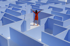 The girl in the maze. Woman asks for help in the maze Stock Images