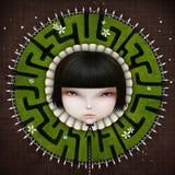 Girl and maze Stock Photos