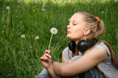 Girl on meadow Royalty Free Stock Photography