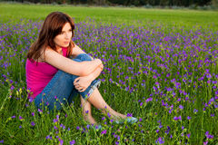 Girl on the meadow Royalty Free Stock Image