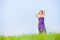 Girl on a meadow Stock Photo