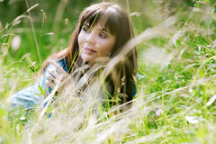 Girl on a meadow Royalty Free Stock Images