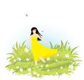 Girl on meadow Royalty Free Stock Images