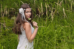 The girl in the meadow Stock Photography