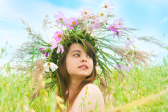 The girl on a meadow Stock Photos