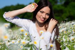 Girl on the meadow Royalty Free Stock Images
