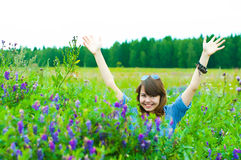 The girl on a meadow Royalty Free Stock Image