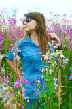 The girl on a meadow Stock Image