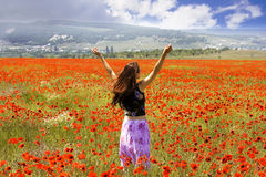 The girl on a meadow. With blossoming poppies Royalty Free Stock Images