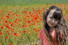 Girl on meadow Royalty Free Stock Photos
