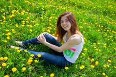 Girl in meadow Stock Photo