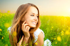 Girl in the Meadow Royalty Free Stock Photos