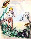 Girl on meadow with cat. Girl catching a cat on a meadow stock illustration