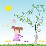 Girl on a Meadow on a Sunny Day. Childish Cartoon Drawing of a Girl on a Meadow on a Sunny Day Stock Photos