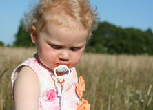 Girl on meadow with teat stock photo