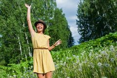 Girl in a meadow Stock Photos