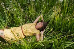 Girl in a meadow Stock Photography