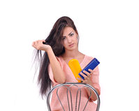Girl with the means to care for the body Stock Photography