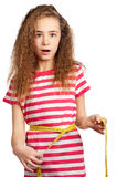 Girl with measure Royalty Free Stock Images
