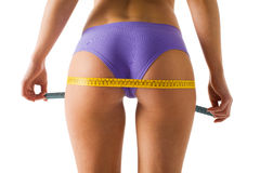 Girl Measuring Her Body Royalty Free Stock Image