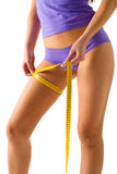 Girl measuring her thigh Royalty Free Stock Photos