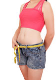 Girl measuring her waist. On white Royalty Free Stock Photography