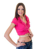 Girl Measuring waist Royalty Free Stock Photo