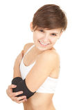 Girl in medical bandage, elbow support Stock Photo