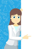 Girl in medical clothing points to a blank banner on a blue background with icons on a theme medicine. Woman doctor in a lab coat points to a blank banner on a royalty free illustration