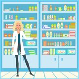 A girl in a medical dressing gown. The doctor is in the pharmacy. Smiling salesman in white lab coat. Vector illustration Royalty Free Stock Photos