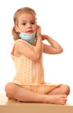 Girl with medical mask. Royalty Free Stock Images