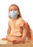 Girl is in a medical mask. Stock Photo